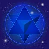 Sacral geometrispirituelmodell med tetrahedronen i triangel och i rounden Royaltyfri Bild