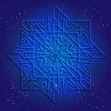 Sacral geometry 3d design. Mandala, arabesque on the deep blue cosmic sky. Royalty Free Stock Photo