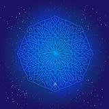 Sacral geometry 3d design. Mandala, arabesque on the deep blue cosmic sky wiht stars. Stock Photo