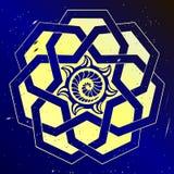 Sacral geometry mandala. Cosmic art design. Space sacred geometry. Mandala in the gold color Stock Photos