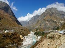 Sacral Himalayagebergte Badrinath royalty-vrije stock afbeelding