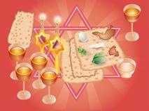 Sacral maaltijd op Pesakh (Pascha) Vector Illustratie