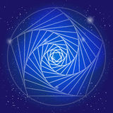 Sacral symbol in the space, on deep blue sky with stars. Spiritual design. The corridor of time in universe. Sacral symbol in the space, on deep blue sky with Stock Photography