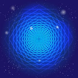 Sacral symbol in the space, on deep blue sky with stars. Spiritual design. The passage of time in universe. Stock Image