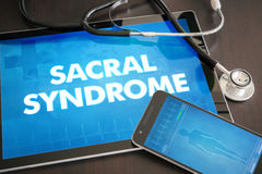 Sacral syndrome (cutaneous disease) diagnosis medical concept on. Tablet screen with stethoscope Stock Images
