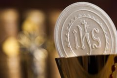 Eucharist, sacrament of communion background. Sacrament of communion, Eucharist symbol royalty free stock photo