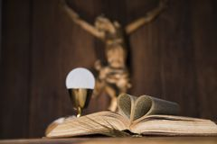 Sacrament of communion, Eucharist symbol. Eucharist symbol of bread and wine, chalice and host, First communion background royalty free stock image