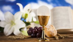 Eucharist symbol of bread and wine, chalice and host, First comm royalty free stock image