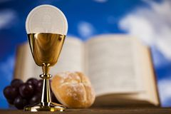Eucharist symbol of bread and wine, chalice and host, First comm stock images