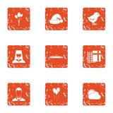 Sacrament icons set, grunge style. Sacrament icons set. Grunge set of 9 sacrament vector icons for web isolated on white background Stock Photo