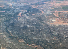 Sacramento. Aerial View of the city of Sacramento in California Stock Image