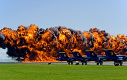 Sacramento Air Show. Fire at air show in Sacramento Royalty Free Stock Photography