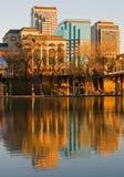 Sacramento bij zonsondergang stock afbeelding