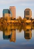 Sacramento bij zonsondergang Stock Fotografie