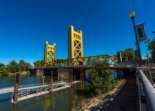 Sacramento California Tower Bridge. Tower Bridge Sacramento California as seen from the River Promenade royalty free stock photos