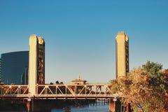 Sacramento California Tower Bridge. Yellow Vertical lift Tower Bridge in the Capitol city Sacramento California stock photos