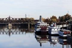 Sacramento, California/United States November 25, 2012 - Boats O. River Boats Sacramento California With Reflections In Water Stock Photos