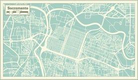 Sacramento California USA City Map in Retro Style. Outline Map. Vector Illustration Stock Photos