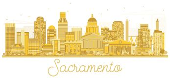 Sacramento California USA City Skyline Golden Silhouette. Vector Illustration. Simple Flat Concept for Tourism Presentation, Banner, Placard or Web Site Royalty Free Stock Photography