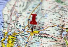 Sacramento in California, USA. Map with pin point of Sacramento in California, USA royalty free stock image
