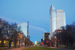 Sacramento Capital Mall at Dawn. With gold tower bridge in background Stock Photography
