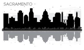Sacramento City skyline black and white silhouette with Reflecti Royalty Free Stock Photo
