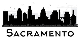 Sacramento City skyline black and white silhouette. Stock Image