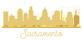 Sacramento City skyline golden silhouette. Vector illustration. Simple flat concept for tourism presentation, banner, placard or web site. Business travel Royalty Free Stock Photography