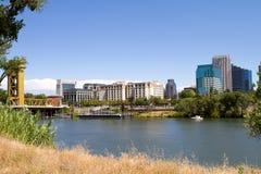 Sacramento City Skyline. Skyline view of Sacramento, the state capital of California as seen from across the river stock photos