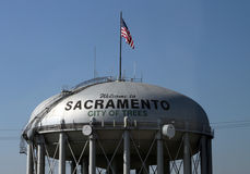 Sacramento, City of Trees. Motto of the City of Sacramento in a tank in the city. Flag of the United States of America Stock Photography