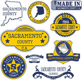 Sacramento county, CA. Set of stamps and signs Stock Photo