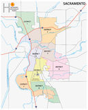 Sacramento district administrative and political map Royalty Free Stock Photography
