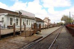 Sacramento för gammal stad järnväg linse Kalifornien USA Arkivbild