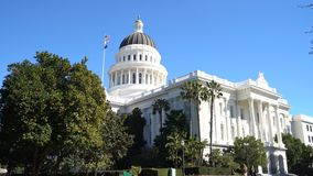 Exterior view of the historical California State Capitol stock video footage