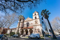 Exterior view of the historical St Francis Church. Sacramento, FEB 23: Exterior view of the historical St Francis Church on FEB 23, 2018 at Sacramento Stock Image
