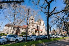 Exterior view of the historical St Francis Church. Sacramento, FEB 23: Exterior view of the historical St Francis Church on FEB 23, 2018 at Sacramento Royalty Free Stock Image