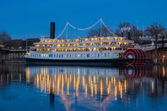 Night view of the famous Delta King with Sacramento River. Sacramento, FEB 22: Night view of the famous Delta King with Sacramento River on FEB 22, 2018 at stock photo