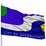 Sacramento Flag on Flagpole, Waving on White Background Stock Photography