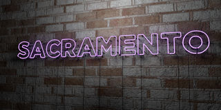 SACRAMENTO - Glowing Neon Sign on stonework wall - 3D rendered royalty free stock illustration Stock Image