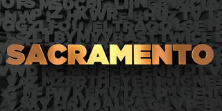 Sacramento - Gold text on black background - 3D rendered royalty free stock picture Stock Images
