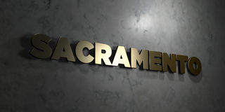 Sacramento - Gold text on black background - 3D rendered royalty free stock picture Stock Photo