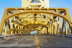 Sacramento Golden Tower Bridge Royalty Free Stock Images
