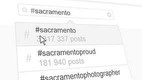 Sacramento hashtag search through social media posts. 3D rendering. Sacramento hashtag search through social media posts Stock Photography