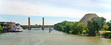 Sacramento Landmarks. Landmarks of Sacramento, California: Delta King Riverboat, I Street Bridge, Sacramento River and the Ziggurat Pyramid Building stock photo