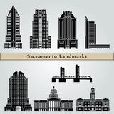 Sacramento landmarks and monuments. On blue background in editable vector file Royalty Free Stock Image