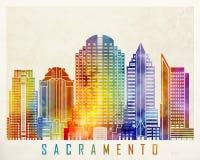 Sacramento landmarks watercolor poster. Sacramento landmarks in watercolor poster Stock Photo