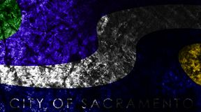 Sacramento miasta grunge flaga, Kalifornia stan, Stany Zjednoczone Ameryka ilustracji