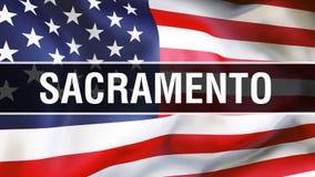 Sacramento miasto na usa flagi tle, 3D rendering Zlani stany Ameryka zaznaczają falowanie w wiatrze amerykańska flaga dumna royalty ilustracja