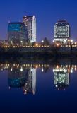 Sacramento at night. Buildings reflecting in the water Royalty Free Stock Photos