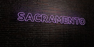 SACRAMENTO -Realistic Neon Sign on Brick Wall background - 3D rendered royalty free stock image Stock Images